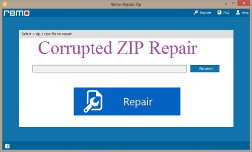 Repair Corrupted ZIP - Main Screen